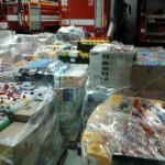 V pátek v noci bylo připraveno 37 palet s humanitární pomocí. Do jednoho kamionu se nevlezla.